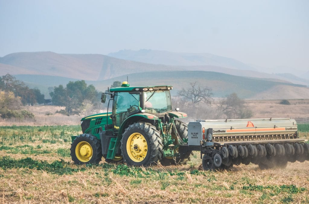 Mark Luff drives the Paicines Ranch no-till tractor.